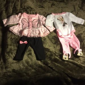 2 Minnie Mouse Disney size NEWBORN outfits